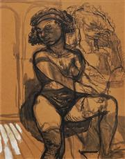 Sale 8656 - Lot 505 - John Bell (1938 - ) - Seated Girl Dreaming 61 x 47cm