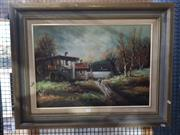 Sale 8699 - Lot 2049 - Signed Early Cottage, oil, SLR