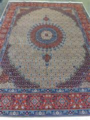 Sale 8774 - Lot 1059 - Large Persian Moud Wool Carpet, with medallion & pendants on a Herati field, in cream, red & blue tones