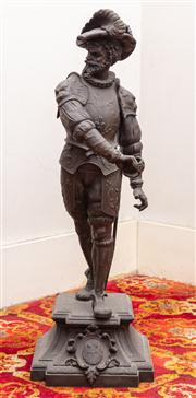 Sale 8804A - Lot 12 - A large spelter figure of a renaissance guardsman (missing blade), H 85cm