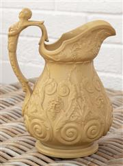 Sale 9066H - Lot 160 - A W Ridgway & Co sand coloured bacchanalian jug, Height 25cm