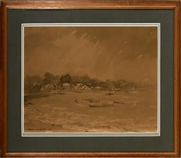 Sale 9127 - Lot 2071 - Robert Richmond Campbell (1902 - 1972) Stormy Weather at Snails Bay, 1950 ink and wash 32 x 41.5 cm (frame: 48 x 55 x 2 cm) signed a...