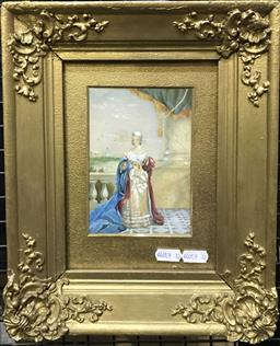 Sale 9106 - Lot 2022 - Artist Unknown Queen Victoria on the Occasion of the Christening of The Prince of Wales 1841 gouache 30 x 25cm (frame) signed