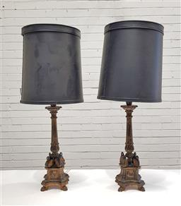 Sale 9142 - Lot 1081 - Pair of Empire Style Gilt & Black Timber Candlestick Form Table Lamps, on square pedestals surmounted by stylised swans, having blac...