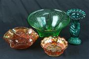 Sale 8445 - Lot 49 - Carnival Glass Bowls with Other Glass incl Green Depression Glass Bowl