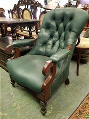 Sale 8576 - Lot 1075 - 19th Century Cedar Armchair, upholstered in buttoned green leather & on turned legs