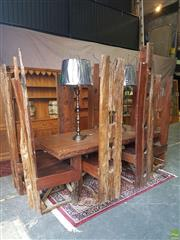Sale 8601 - Lot 1360 - Large Gothic Style Hardwood Dining Suite w 8 High back Chairs (Table H: 76 L: 210 W: 99cm) (Avg. Chair H: 180cm)