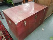 Sale 8601 - Lot 1308 - Large Metal Travelling Trunk (H: 64 W: 102 D: 61cm)