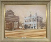 Sale 8678 - Lot 2041 - Neil Straub - Old Colonial Bank, Railway Street Victoria oil on canvas board, 75.5 x 90 (frame size) signed lower right