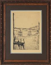 Sale 8794A - Lot 5081 - Francesco Chiappelli (1890 - 1947) - Ponte Santa Trinita, Florence 31 x 22.5cm