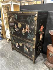 Sale 8896 - Lot 1005 - Chinese 4 Door Cabinet depicting Village Scenes