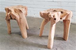 Sale 9112 - Lot 1002 - Pair of modern organic tree stump side tables (h:47 x d:43cm)