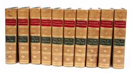 Sale 9130S - Lot 16 - Chambers Encyclopoedia Volumes I-X, published 1883, revised edition with maps and wood engravings