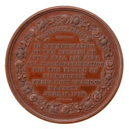 Sale 9130E - Lot 78 - A Victorian commemorative medal for the opening of Aston hall and park, Diameter 4.2cm