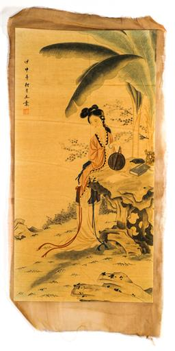 Sale 9173 - Lot 65 - A Chinese painting of a court lady (82cm x 42cm, unframed)