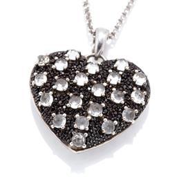 Sale 9246J - Lot 388 - A SILVER STONE SET HEART PENDANT NECKLACE; heart pendant set with rose cut quartz and black zirconias, size 28 x 32mm, on double bel...