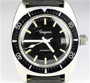 Sale 8402W - Lot 88 - DUGENA AUTOMATIC WRISTWATCH; black dial, centre seconds, date, 60 minute black enamel bezel on a 21 jewell ETA 2472 movement, screw...