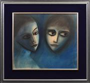 Sale 8408 - Lot 547 - Robert Dickerson (1924 - 2015) - Two Faces 56 x 65cm