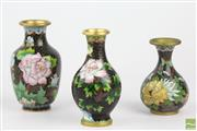 Sale 8524 - Lot 54 - Cloissone Set of Three Small Vases Decorated With Flowers