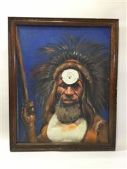 Sale 8579 - Lot 43 - A Papua New Guinean tribal chief painting, oil on canvas and in timber frame, H 55 x W 45cm