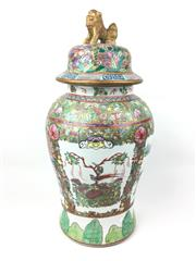 Sale 8995H - Lot 63 - A famille verte lidded vase with foo dog finial and Greek key pattern to lid, height 48cm