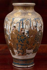 Sale 8963H - Lot 62 - A signed Satsuma vase of acolytes in a bamboo grove, Height 25cm
