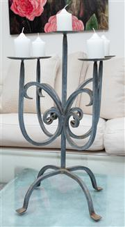 Sale 8990H - Lot 10 - A large wrought iron five branch candelabrum, Height 58cm