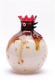 Sale 9018 - Lot 98 - Art Glass Vase with Rooster Form Lip (H: 26cm) with a Smokey Glass Vase (H: 35cm)