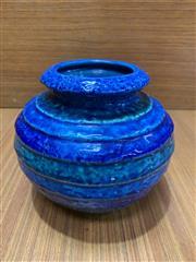 Sale 9022 - Lot 1011 - Vintage Italian Bistossi? Tapered Ribbed Pottery Vase (h:13cm)