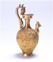 Sale 8376A - Lot 65 - A Chinese Sterling Silver Urn with Gold plated exterior, Dragon handle and Phoenix spout, Ht: 13cm Wt: 188g