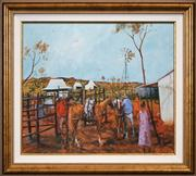 Sale 8429A - Lot 2018 - Hugh Sawrey (1919 - 1999) - Pack Horses, Western Queensland 47 x 57cm