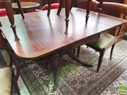 Sale 8428 - Lot 1064 - Regency Style Mahogany Pembroke Table, with cross banded top, frieze drawer & reeded out swept legs