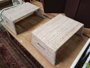Sale 8601 - Lot 1516 - Pair of Wicker Whitewash  Breakfast Trays