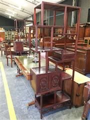 Sale 8666 - Lot 1067 - Pair of Chinese Rosewood Display Shelves, the near mirrored design with an asymmetrical arrangement of cupboards & drawers