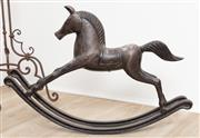 Sale 8902H - Lot 17 - A patinated spelter rocking horse, Height 48cm, Width 68cm