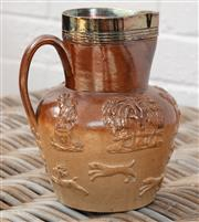 Sale 9066H - Lot 205 - A Doulton pottery hunting jug with silver plate rim, Height 19cm
