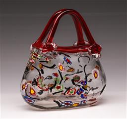 Sale 9114 - Lot 56 - A Millefiori style art glass handbag (H:20cm)