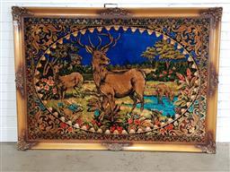 Sale 9191 - Lot 1035 - Vintage timber framed tapestry (190 x 140cm)