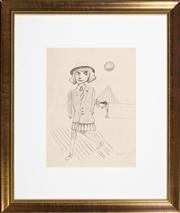 Sale 8630A - Lot 57 - Charles Blackman (1928 - 2018) - Schoolgirl, 1952 38.5 x 29.0 cm