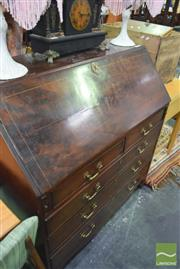 Sale 8345 - Lot 1048 - Georgian Style Mahogany Bureau, with fitted interior, five drawers & bracket feet (Key In Office)