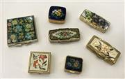 Sale 8436A - Lot 22 - A group of seven floral pill boxes and compacts including Japanese.