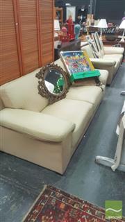 Sale 8447 - Lot 1084 - Pair of Cream 2 1/2 Seater Lounges in Cream