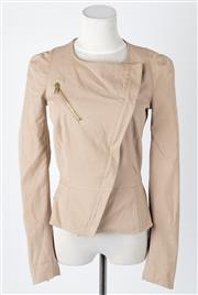 Sale 8541A - Lot 48 - An Alexander McQueen beige waterfall front jacket with gilt zips, size 40