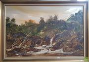 Sale 8595 - Lot 2017 - Jim Crofts (1922-) - Waterfalls - Oil on Board, signed, artists studio label verso, 60x90cm