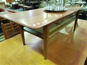 Sale 8661 - Lot 1005 - Teak Coffee Table with Rattan Shelf Below