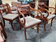 Sale 8744 - Lot 1087 - Set of 6 Brass Inlaid Dining Chairs with Drop In Seats