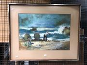 Sale 8853 - Lot 2099 - Artist Unknown (Ellis?) - Fishing on the Beach pastel on paper, unsigned