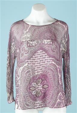 Sale 9091F - Lot 35 - A MASSIMO DUTTI SHEER LONG SLEEVE TOP; with button neck in a purple paisley design, size 42
