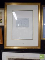 Sale 8410T - Lot 2020 - Frank Hodgkinson (1919 - 2001) - Nu Allonge 16.5 x 24.5cm