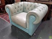 Sale 8601 - Lot 1413 - Light Blue Buttoned Leather Chesterfield Armchair